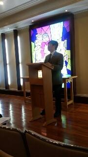 Sekjen CCC, Rev. DR. Bao-Ping Kan menyampaikan renungan dalam ibadah pembukaan