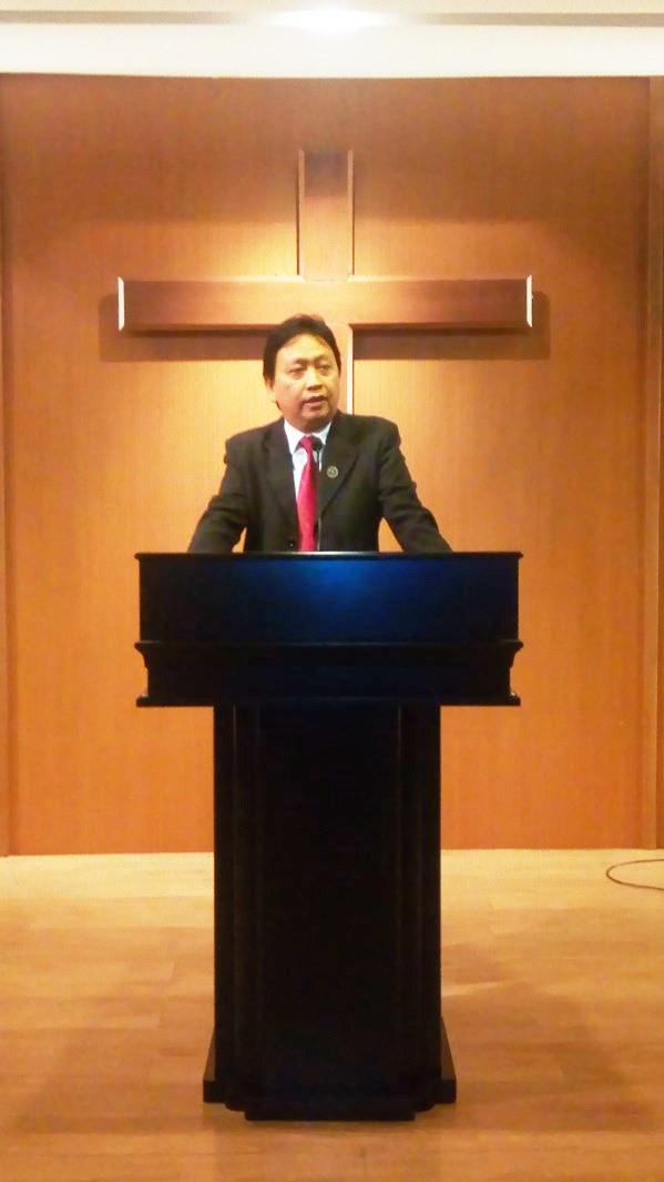 Ketua Umum MPK David Tjandra saat menyampaikan sambutan